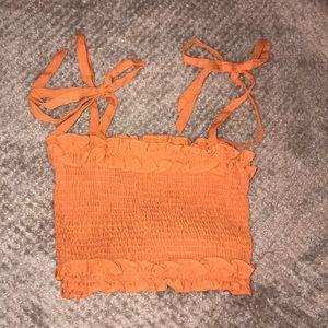 Burnt Orange Tie Smock Top